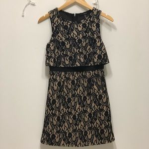 Black & Nude Lace Dress with Mesh Paneling